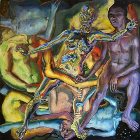 Wallow in Immanence, 2011.  Oil on canvas, 32 x 32 in: a central female figure has a mirrored skin that reflects the rainbow of multi-directional male figures surrounding her.